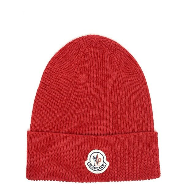 MONCLER Wool Beanie With Logo (€94) ❤ liked on Polyvore featuring men's fashion, men's accessories, men's hats, mens red hats, mens beanie hats and mens wool hats