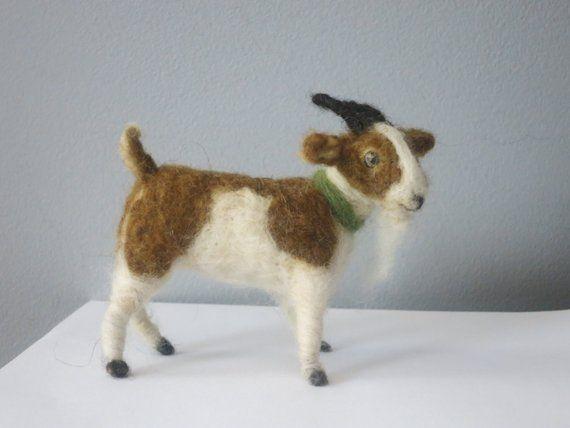 Brown And White Needle Felted Goat Felt Animals Needle Felting Felt Toys