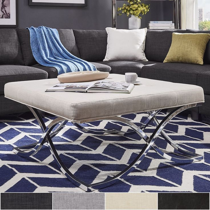 Solene X Base Square Ottoman Coffee Table - Chrome by Inspire Q ([Dark Grey Linen]- Button Tufts), Black