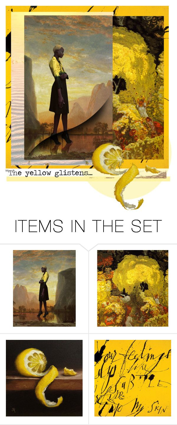 """""The yellow glistens..."" by artsdesireable ❤ liked on Polyvore featuring art, pocpolyvore, BIRDSKINAU, Alkemia and JanePalmerArt"