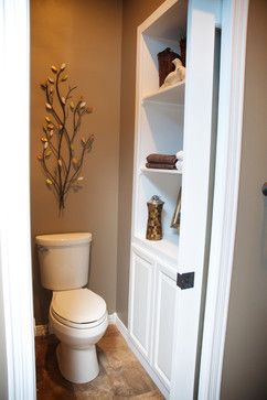 Master Bathroom & Closet Remodel - transitional - bathroom - other metro - Gina McMurtrey Interiors.  Toilet enclosed with pocket door, built-in linen storage