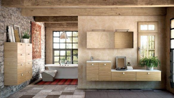 decoration-zen-bathroom-stone-wall-natural-wood furniture-vanity-plant-green
