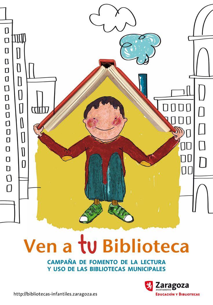 BPMZaragoza. Ven a tu biblioteca. Campaña de fomento de uso de bibliotecas. Cartel de Inma Grau (http://www.inmagrau.com/)