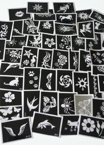 100 Three-layer Adhesive Stencils for Face Painting, Air Brushing or Glitter Tattoos! $50.00 (save $60.00)