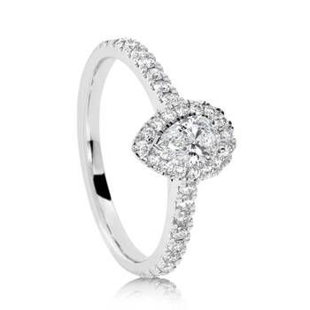 Beautiful 18ct White Gold Pear Halo Diamond Engagement Ring  from the 2016 It Started With A Kiss campaign.