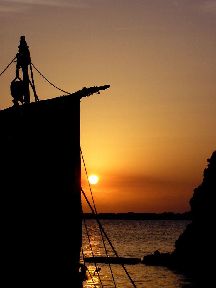 Tunisian sunset with Roman boat. Filming The Secrets of Vesuvius on the beach at Bizerte. Sept 2006. https://itunes.apple.com/gb/tv-season/roman-mysteries-series-1/id404814654?ign-mpt=uo%3D4