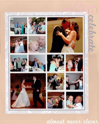 Wedding scrapbook layout with tons of pictures.