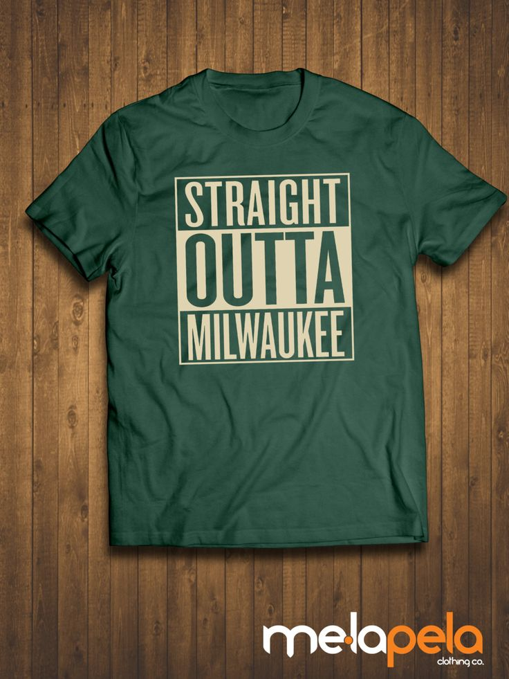 Straight Outta Milwaukee T-Shirt (Bucks Colors) Adult Sizes Features: 100% preshrunk cotton Seamless rib collar Taped shoulder to shoulder Fully double needle stitched