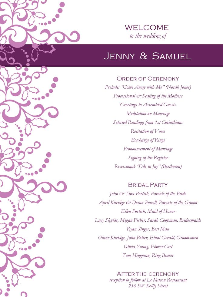 Wedding program templates free for Free wedding program templates