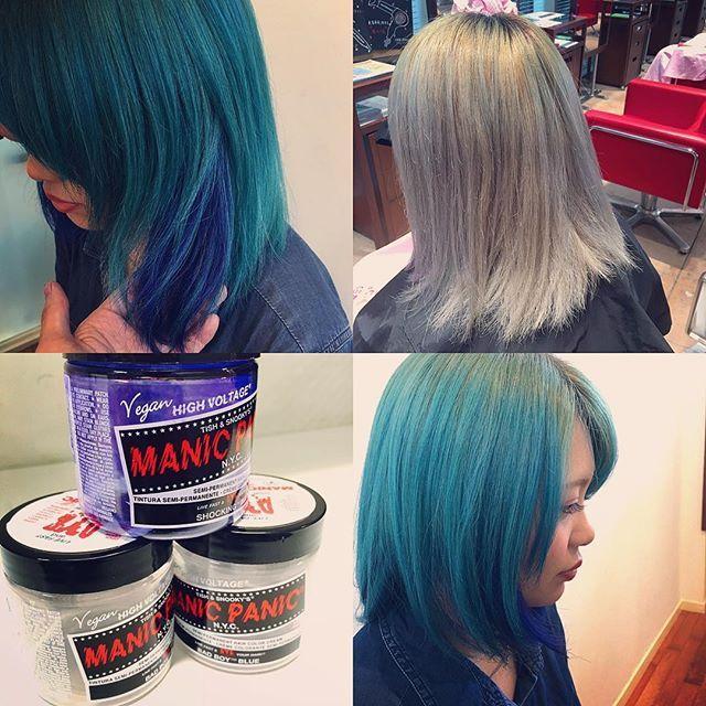 WEBSTA @ yosi.kmt - 昨日はとても楽しいcolorをさせて頂きました♪笑@mynameis__saki いつもありがと!BADBOYBLUEっていい色でるね〜♪ .. #美容#美容院#ebina#yoshitaka #color #colorful #hair#hairstyle #colorist #木本オリカラ#褪色美 #マニパニ #badboy #blue #bluehair #まだまだ#カラー#奥深い