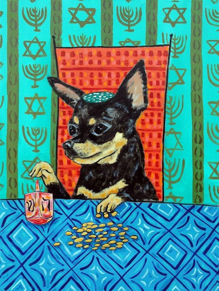 chihuahua hanukkah dreidel DOG PRINT abstract folk pop ART JSCHMETZ 11x14