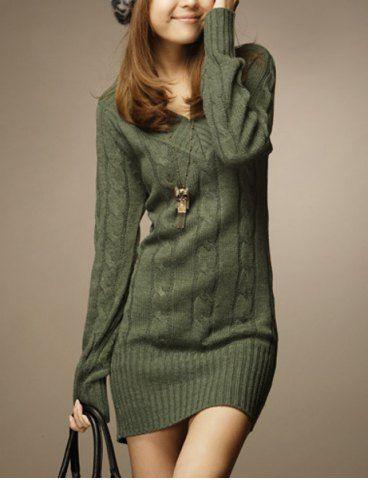 Vintage V-Neck Long Sleeve Solid Color Women's Sweater Sweaters & Cardigans | RoseGal.com Mobile