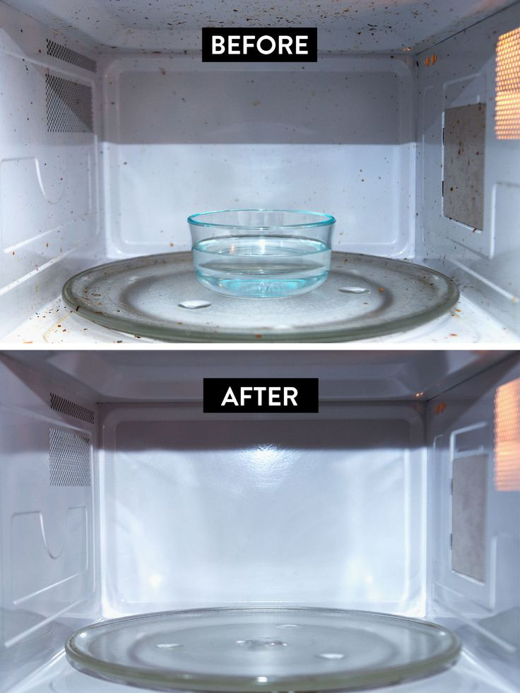 1/2 cup of water, 1/4 cup of white vinegar, and the juice of one lemon in bowl then heat on high 3min & wait 4min-then wipe clean!