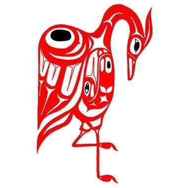 Tatouage oiseau rouge haida