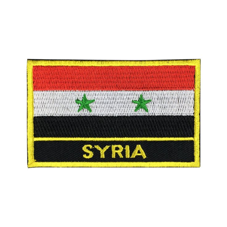 Syria Flag Patch Embroidered Patch Gold Border Iron On patch Sew on Patch Bag Patch meet you on www.Fleckenworld.com