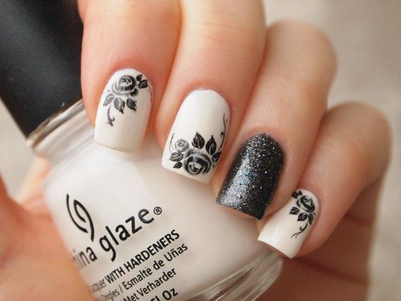 Black roses nail art water decals 20pcs/ by LaPalomaBoutique