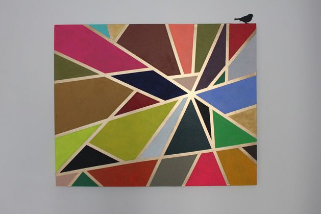 ArtistMaria Teorienmade a geometric tape painting and shows you how to create some of you own DIY art on her blog. We're thinking of trying this using shades from Little Greene Paint Compa...