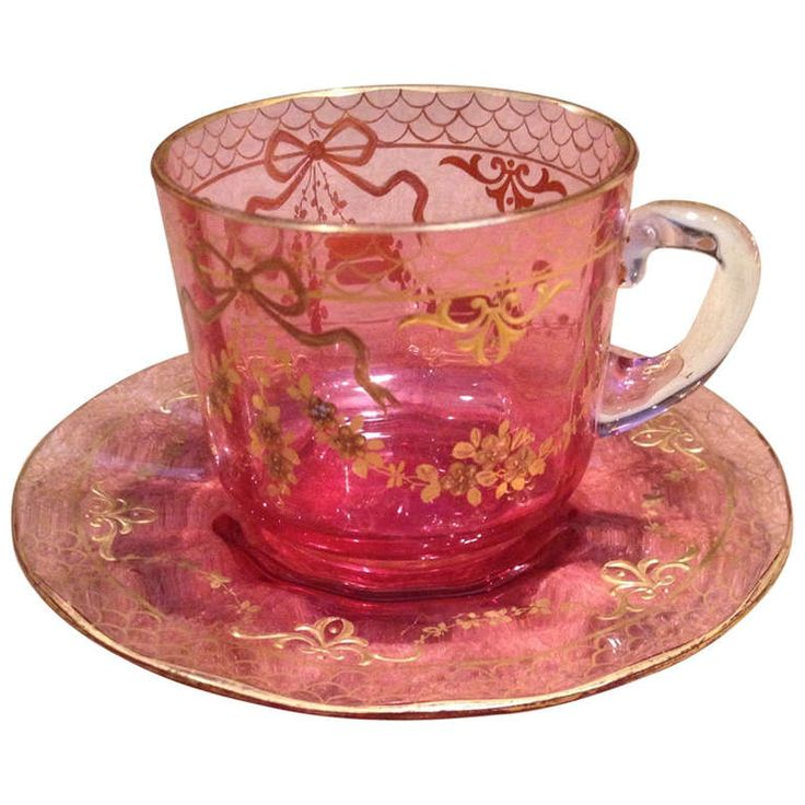 Moser Cranberry Cup And Saucer with Raised Gold Gilding c1900 | From a unique collection of antique and modern tea sets at http://www.1stdibs.com/furniture/dining-entertaining/tea-sets/