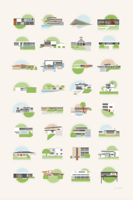 An illustrated collection of iconic mid-century modern homes, including designs by Eames, Neutra, Koenig, Wright, and Arts & Architecture's Case Study Houses.