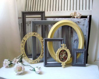 Yellow and Gray Frames, Gray and Yellow Painted Vintage Frames, Made to Order Nursery Decor, Grey and Yellow Decor, Cottage Chic Frame Set
