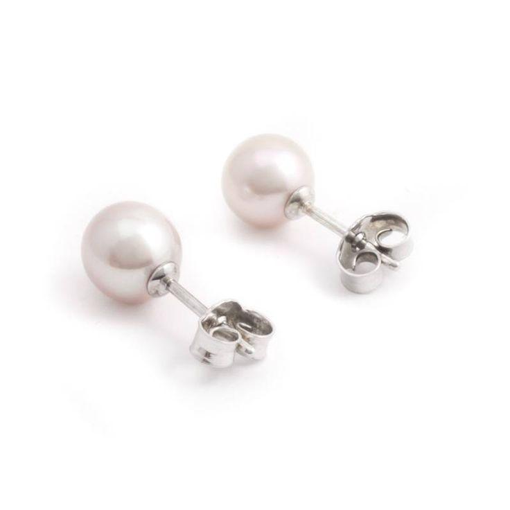 Stijlvolle zilveren parel oorknopjes met oud roze zoetwaterparels van ca. 7 - 7,5 mm koop je bij Aurora Patina, de no. 1 in klassieke sieraden.