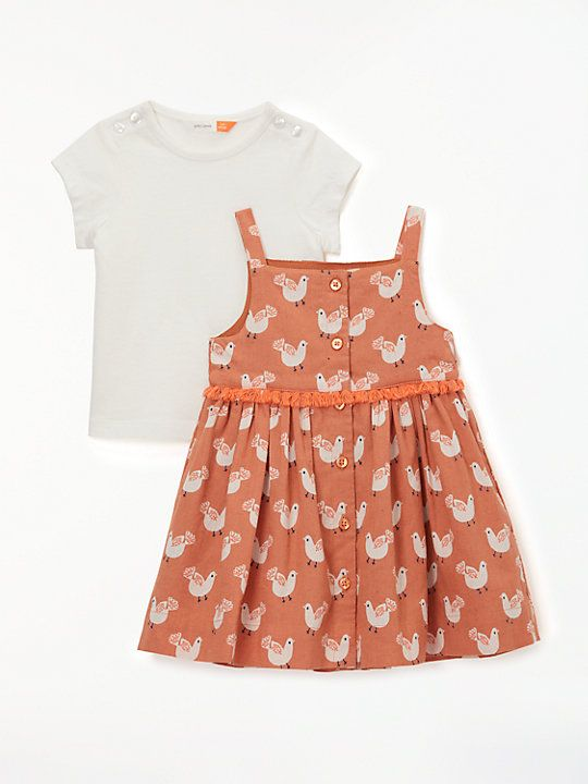 184ea2f93935 John Lewis & Partners Baby Bird Print Dress and Top Set, Multi ...