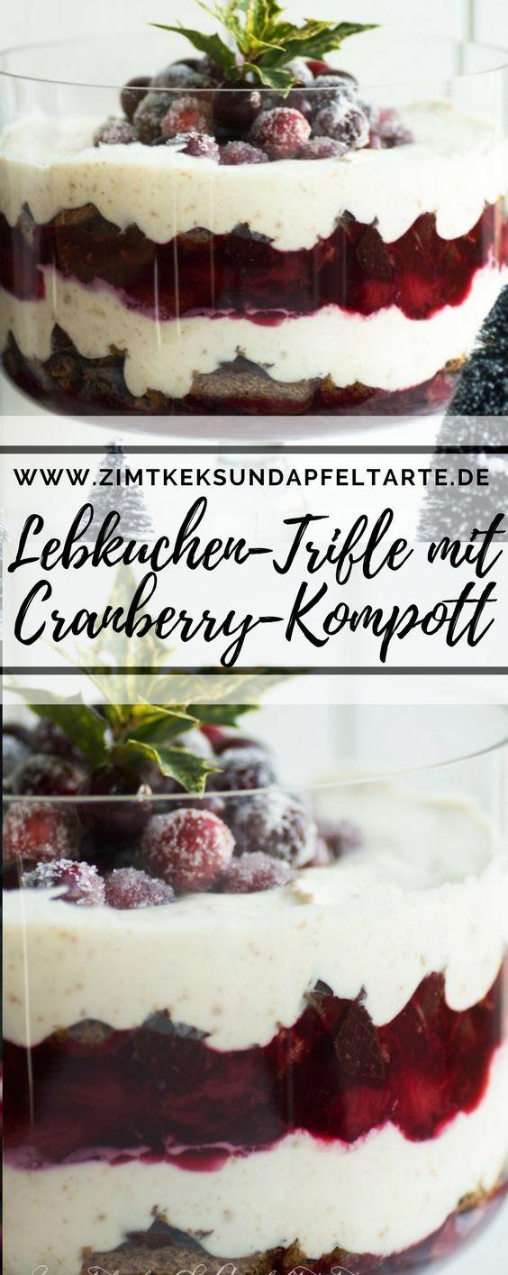 Lebkuchen-Creme, Pflaumen-Cranberry-Kompott uns saftige Lebkuchen bilden die Basis für diesen großartigen Trifle, der perfekt in die Herbst und Winterzeit passt und ein wundervolles weihnachtliches Dessert gibt - das einfache und leckere Rezept findet Ihr auf meinem Blog