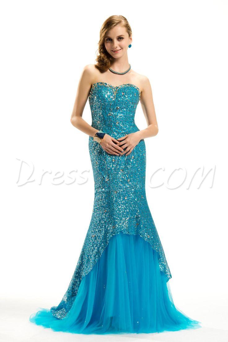 Dresswe.com SUPPLIES Brilliant Meraid Sweetheart Floor-Length Brush Train Empire Waistline Evening Dress