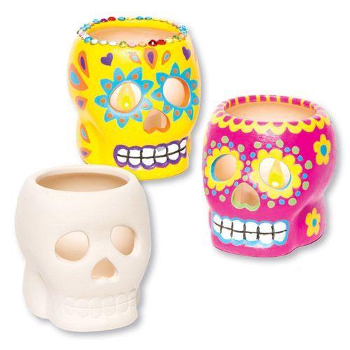 Ceramic Skull Tealight Holders Dayofthedead Halloween Halloweencrafts Bakerross Learningthroughplay Kidscraft K Day Of The Dead Kids Crafts Tea L