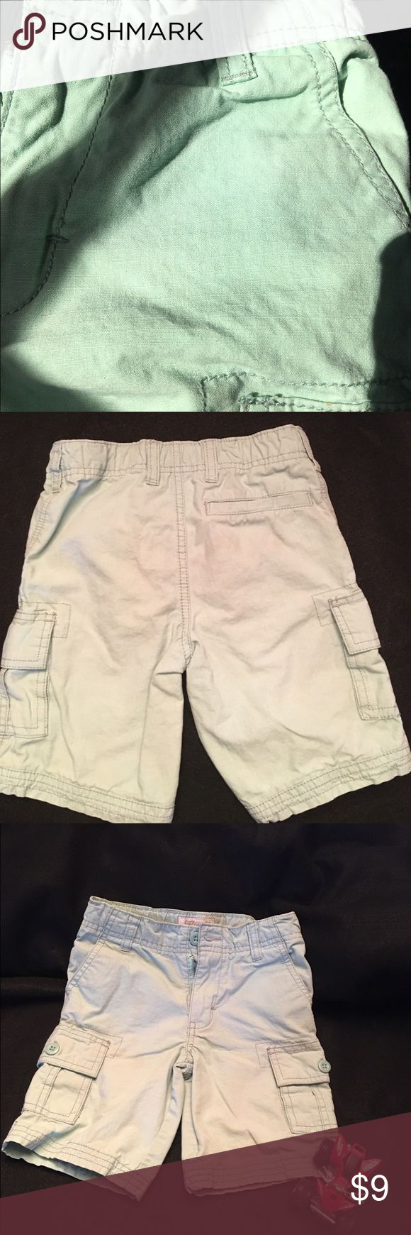 Mint green shorts Super cute!  Cargo shorts! Surf Legend line of Carters cargo shorts.  Mint green color-see the photo with natural lighting, looks grey in the other 2 shots. Carter's Bottoms Shorts