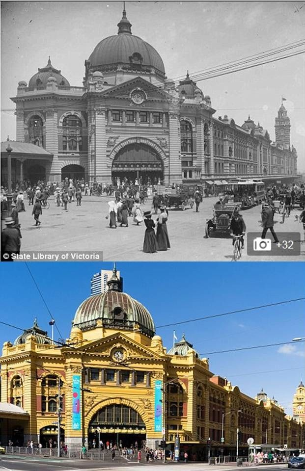 flinders st station melbourne in 1910 and now then and. Black Bedroom Furniture Sets. Home Design Ideas