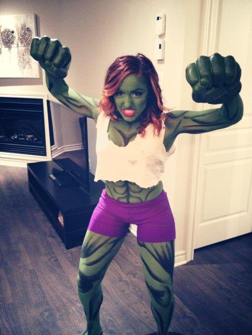 She hulk... Obviously Aubrey's would be more age appropriate, this is just an idea on a costume...
