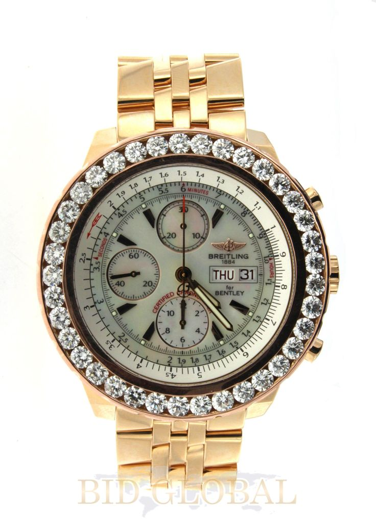 Gold 7.8ct 44.8mm Yellow Gold Diamond GT Racing Breitling Bentley Watch. Appraisal Value: $44400 Lot 292 EST Price: USD 26,600 - 44,400 Start Price: USD 13,000