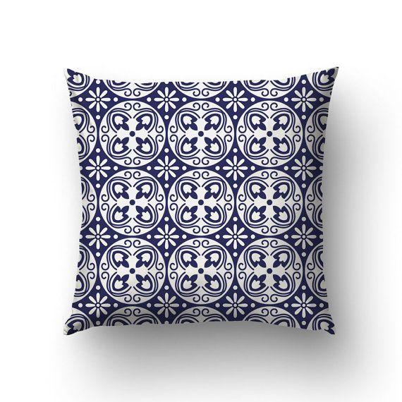 Blue Tile Pillow Spanish Decor Modernist Pillows by Macrografiks