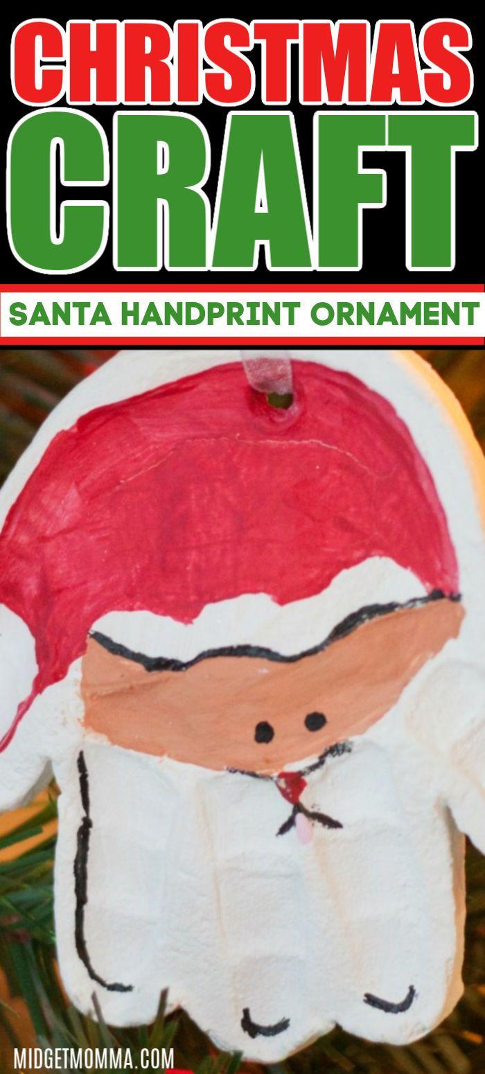 Santa Handprint Diy Ornament Handprint Ornaments Santa Ornaments Santa Handprint Ornament