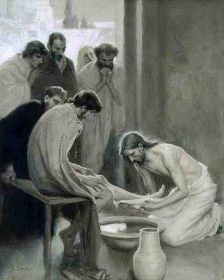 Jesus lavando los pies de sus dicípulos autor Albert Edelfelt
