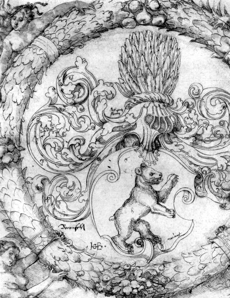 Wappen des Basler Adelberg III. von Bärenfels (Fragment), Feder in Braun und Schwarz, auf Papier, bei Hans Baldung Grien, um 1526