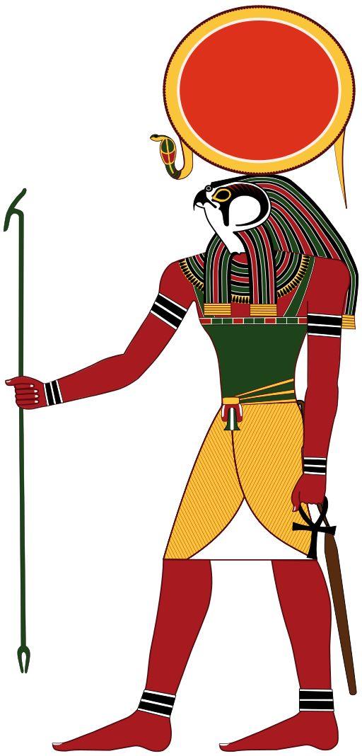 """Rê ou Râ, mot signifiant """"celui qui fait"""", est le dieu égyptien du disque solaire & le créateur de l'univers. Rê incarne le soleil à son zénith et le feu divin. Le soleil peut apparaître sous deux autres formes, celle de Khépri """"le soleil levant"""", le scarabée bousier symbolisant la renaissance, et celle d'Atoum """"le soleil couchant"""", l'être achevé. Rê, Khépri & Atoum forment la triade d'Héliopolis. Sous la XVIIIe dynastie (entre 1550 et 1292 avant notre ère), Rê fut associé à Amon."""