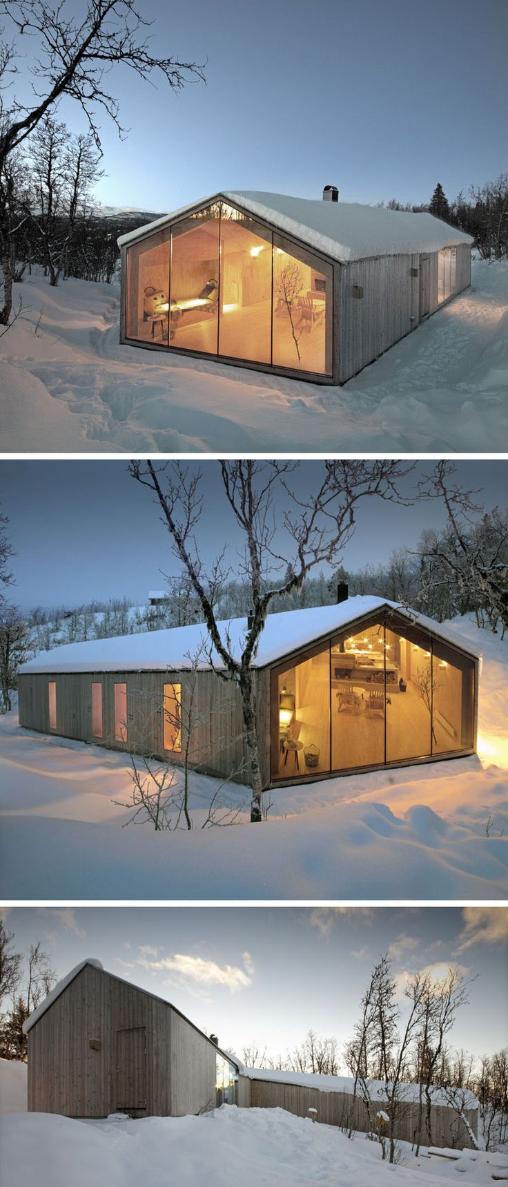 19 Examples Of Modern Scandinavian House Designs   Light wood siding and large floor to ceiling windows keep both the exterior and interior of this holiday home bright and welcoming while also allowing it to blend into the natural surroundings.