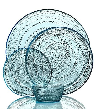 Like dewdrops in the morning sun, the bubbles circling the Iittala Dinnerware Kastehelmi Blue Collection glisten in pressed glass to reflect all the light at your table. A watery blue hue adds to the tranquil nature of the vintage Oiva Toikka design. $19-$75. Buy here.