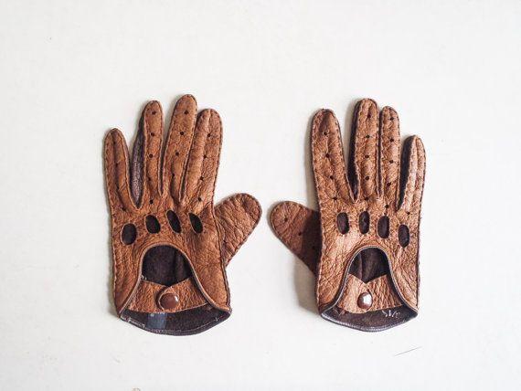 Vintage Moto guantes de cuero marrón