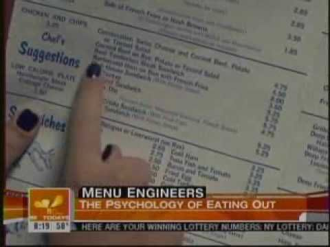Using psychology on a restuarant menu. Gregg Rapp, Menu Engineer on NBC Today Show demonstrates how he helps restaurants increase their profits just by redesigning their menu.