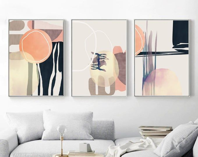 Set of 3 Home Prints Geometric Posters Pictures Yellow Mustard Wall Decor Art