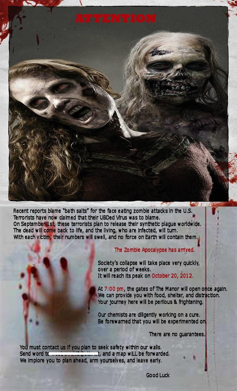 Our Zombie Apocalypse invite Weatrowski Haunt 2012