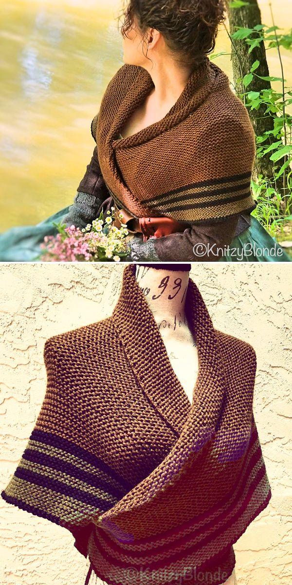 9eb439dcb51 Knitting Pattern for Outlander Carolina Shawl - A lovely rustic-look garter  stitch triangle shawl with stripes on the bottom inspired by the shawl worn  by ...