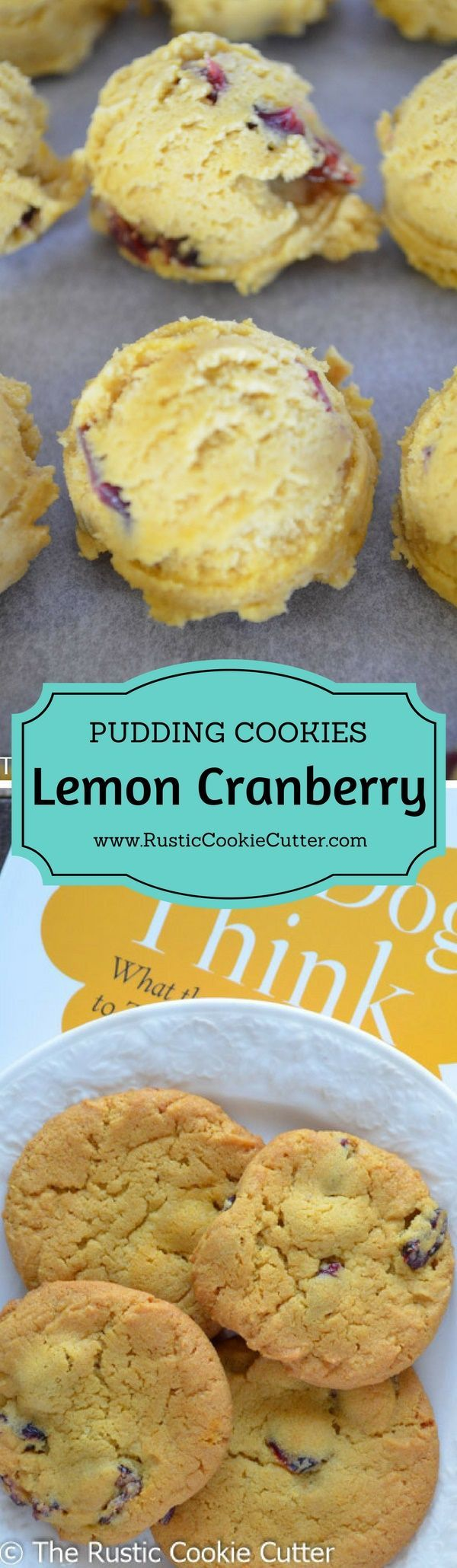 Super Soft & Chewy Lemon Pudding Cookies - Lemon Cranberry Pudding Cookies