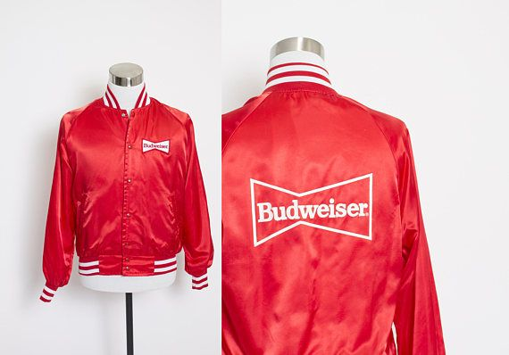 Vintage 80s Satin Jacket  Budweiser Red White Patch Stripes
