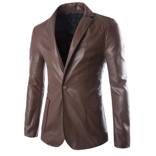 One Button Single-Breasted Stereo Patch Pocket Side Slit Lapel Long Sleeves Men's PU Leather Coat #CLICK! #clothing, #shoes, #jewelry, #women, #men, #hats