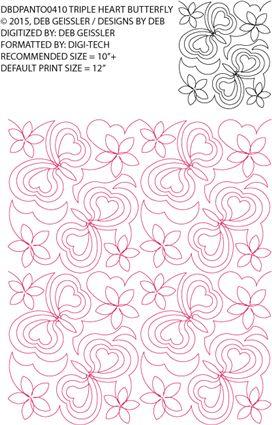 Triple Heart Butterfly Pantograph By Deb Geissler / Designs by Deb DBDPANTO0410