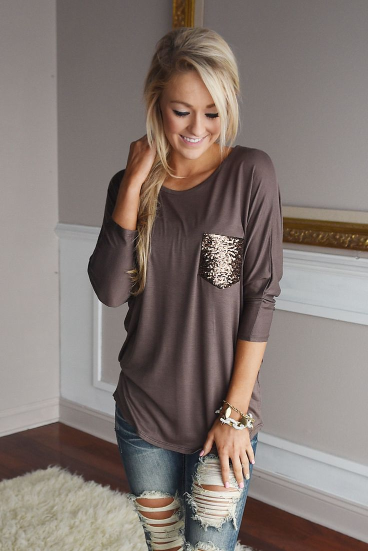 Glam Pocket Top - Mocha – The Pulse Boutique